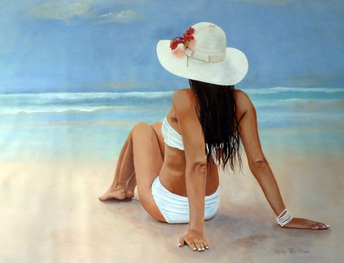 Белая шляпка. Автор: Christine Thery Demore.
