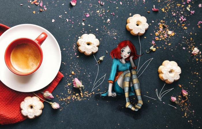 Минутка творчества и позитива за завтраком. Автор: Cinzia Bolognesi.