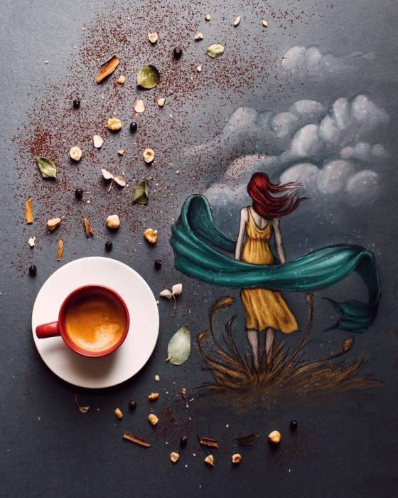 Утренний ритуал: Девушка создаёт аппетитные фуд-арт-фотографии из подручных средств во время завтрака