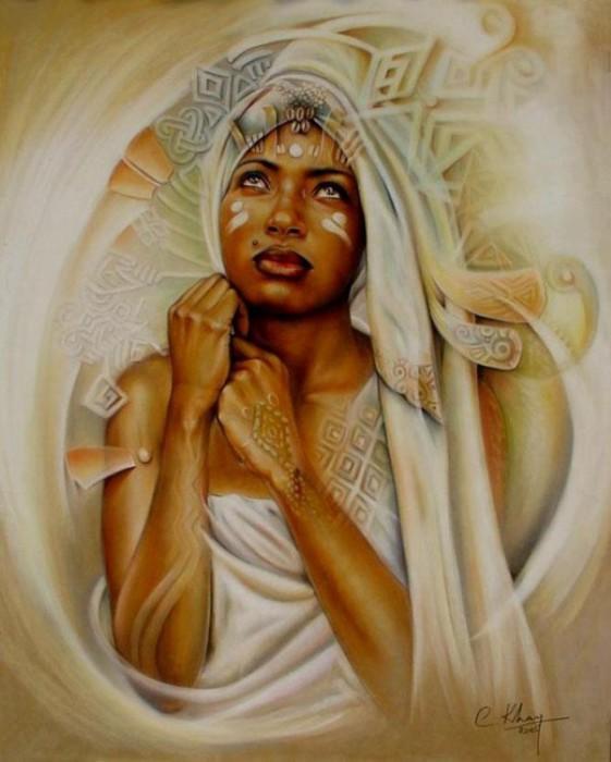 Женские образы в картинах заирского художника Клоди Хана (Claudy Khan).