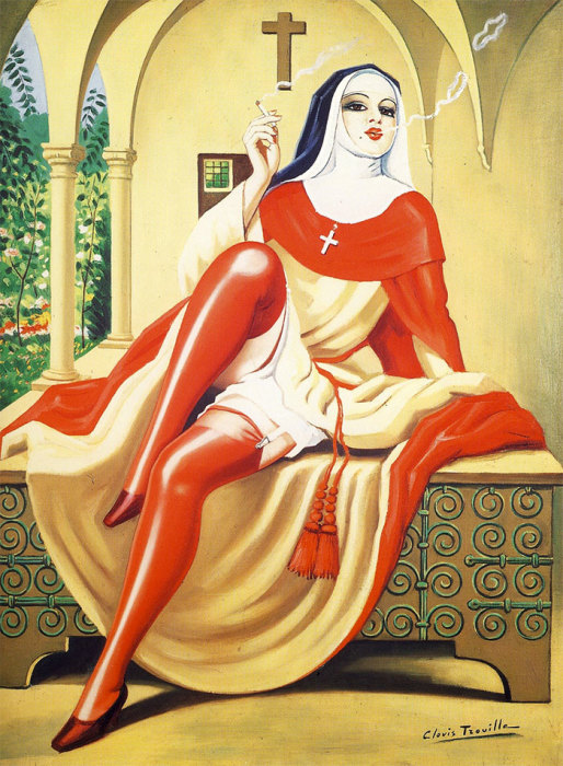 Итальянская монахиня курить сигарету. Автор: Clovis Trouille.