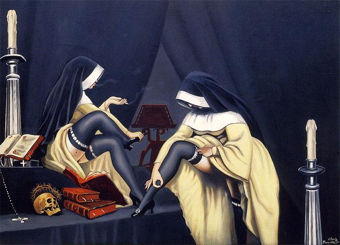 Диалог монахинь. Автор: Clovis Trouille.