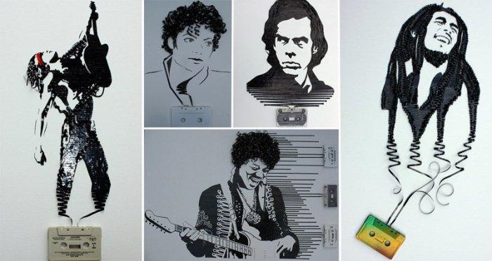 Гениальные портреты из кассетной плёнки. \ Фото: awesomeinventions.com.