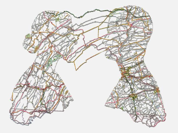Необычные портреты из дорожных карт. \ Фото: nikkirosato.com.