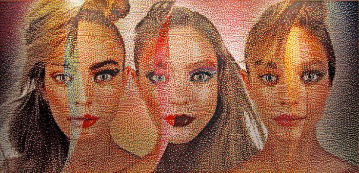 Потрясающие портреты из разноцветных кнопок. \ Фото: designboom.com.