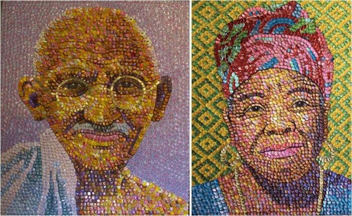Картины из крышек. \ Фото: amarilloverdeyazul.com.