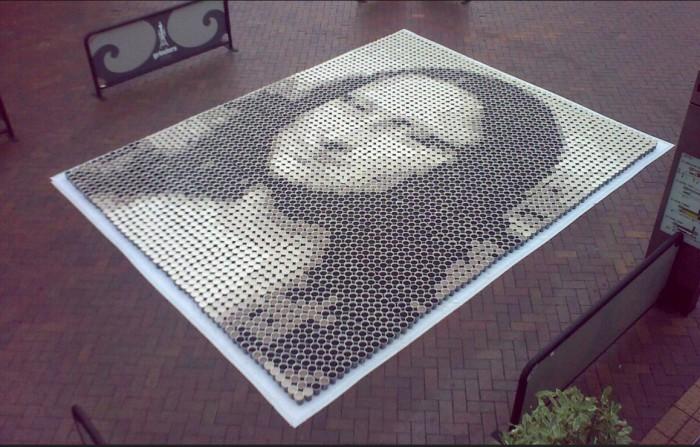 Портрет Джоконды из чашек с кофе. \ Фото: flickr.com.