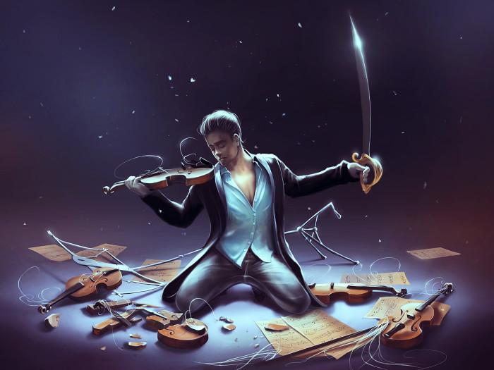 Взрыв скрипки. Автор: Cyril Rolando.