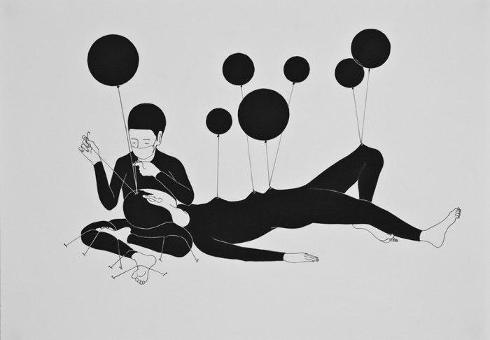 Психологические рисунки тушью. Автор работ: Даехюн Ким (Daehyun Kim).