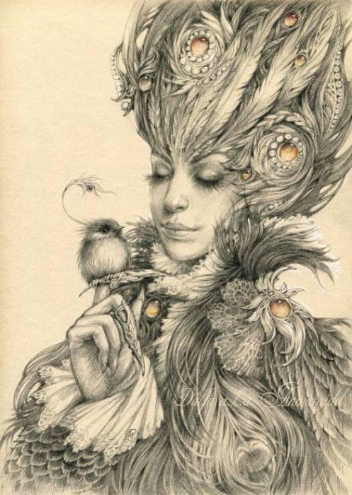 Две птицы (Two birds). Волшебные работы Ольги Исаевой (Olga Isaeva).
