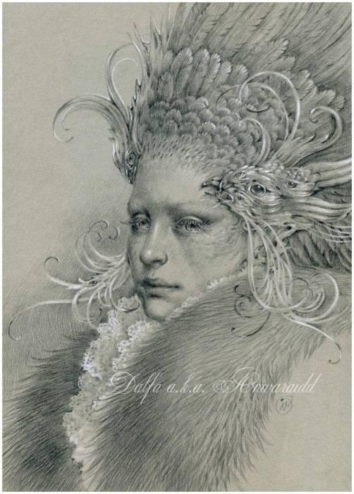 Серебряные перья (Silver feathers). Волшебные работы Ольги Исаевой (Olga Isaeva).