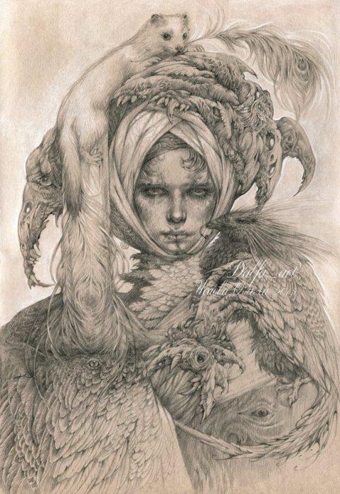 Дама с горностаем (Lady with an Ermine). Волшебные работы Ольги Исаевой (Olga Isaeva).