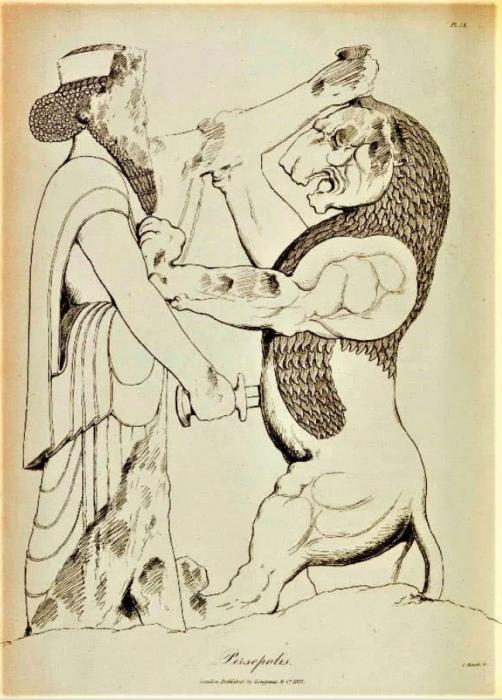 Эскиз персепольского барельефа Дария Великого, сражающегося с Химерой, сэр Роберт Кер Портер, 1820 год.