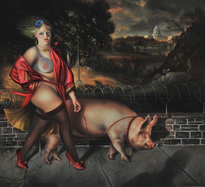 Выгул свинки. Автор: David Michael Bowers.