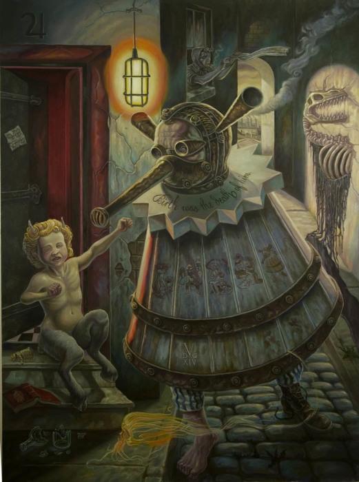Человек со странными постельными принадлежностями. Автор: David Van Gough.