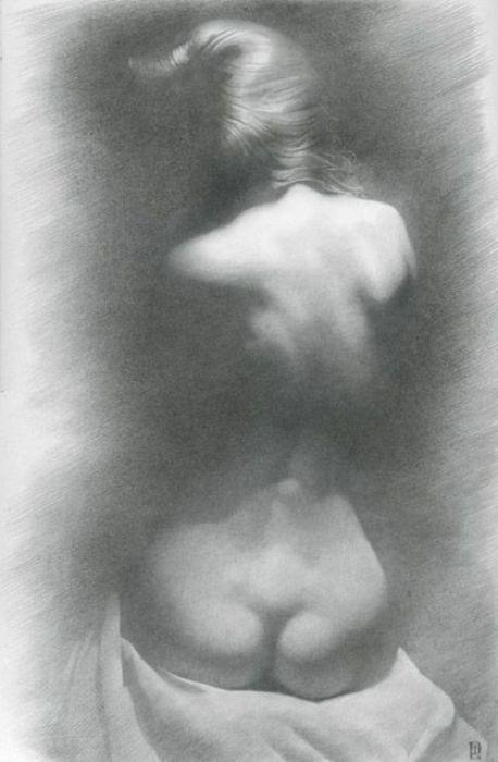 Модель на тёмном фоне. Автор работ: украинский художник Денис Чернов (Denis Chernov).