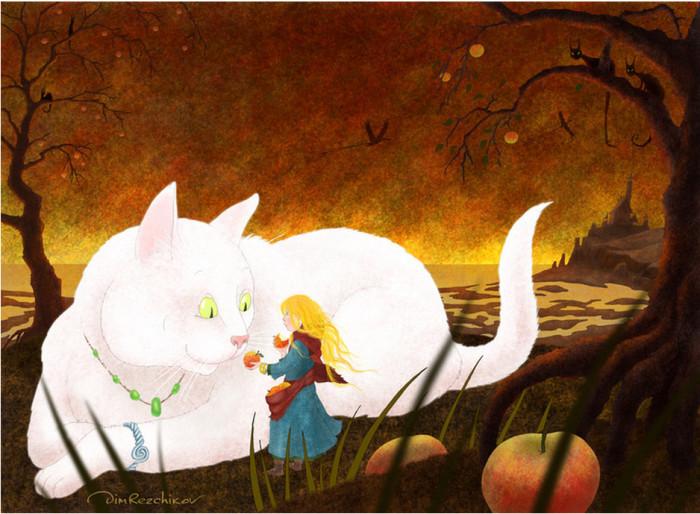 Про девочку и Белую кошку. Авторские  работы Дмитрия Резчикова (Dim Rezchikov).
