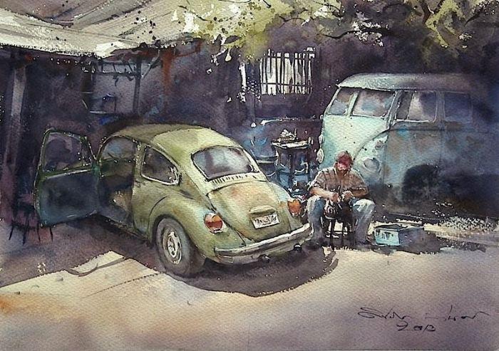 Акварельная живопись. Таиландский художник  Дирек Кингнок (Direk Kingnok).