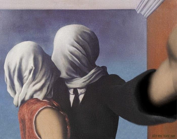 Влюблённые 2. Художник: Рене Магритт, 1928 год. Автор: Dito Von Tease.