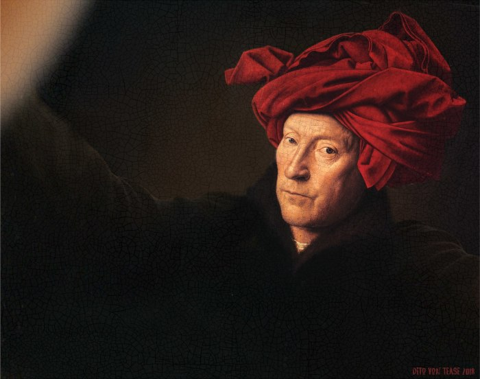 Портрет человека в красном тюрбане. Художник: Ян ван Эйк, 1433 год. Автор: Dito Von Tease.