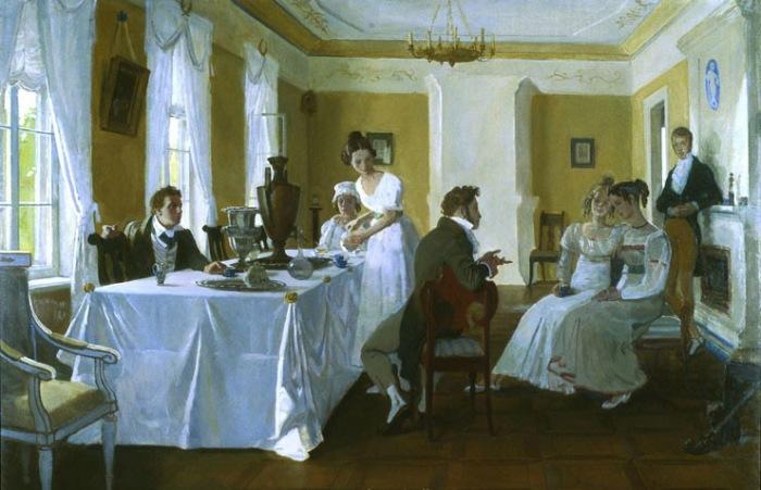 Пушкин в гостях у семейства Осиповых-Вульф в Тригорском. Автор: Дмитрий Белюкин.