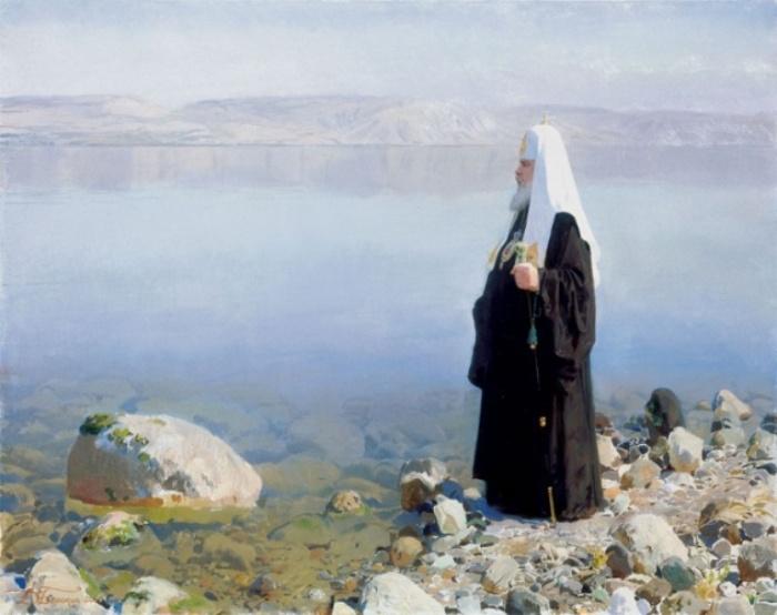 Святейший Патриарх Московский и всея Руси Алексий II на Генисаретском озере. Автор: Дмитрий Белюкин.