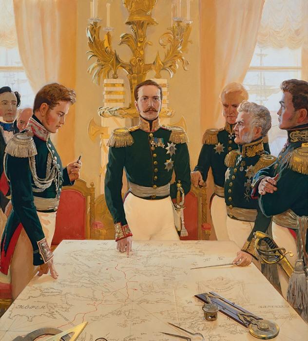 Николай I, отдающий приказ о выходе русской эскадры для спасения Греции. Автор: Дмитрий Белюкин.