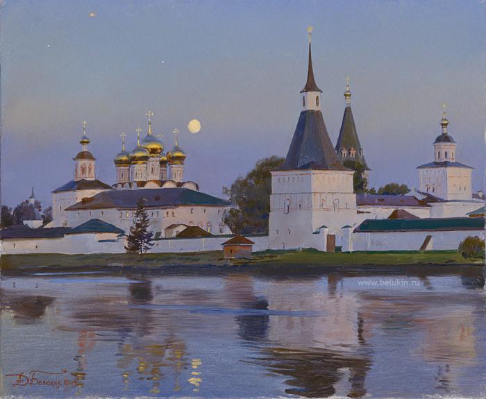Иверский монастырь, восходит луна. Автор: Дмитрий Белюкин.