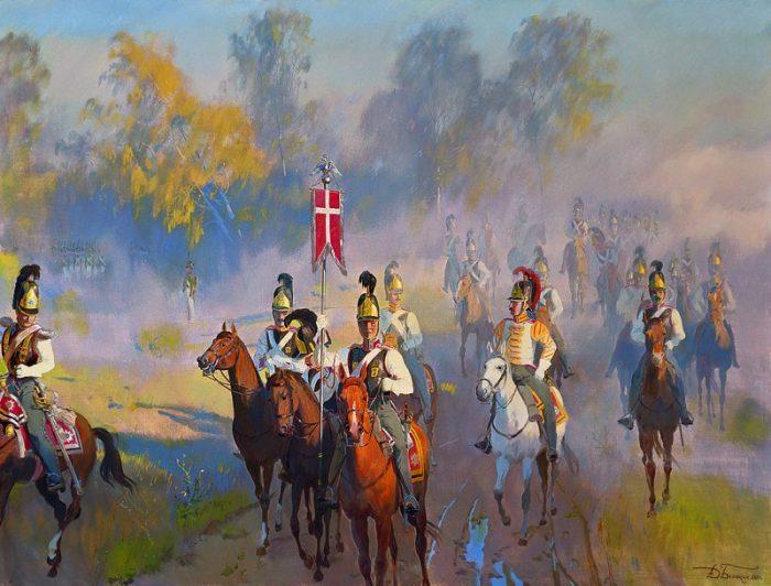Утро Бородинской битвы. Выезд Кавалергардского полка на позицию. Автор: Дмитрий Белюкин.
