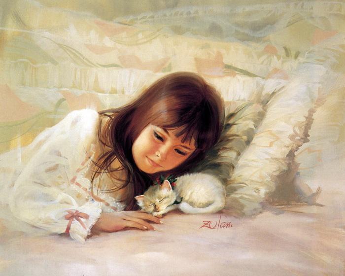 Девочка и котёнок. Автор: Donald Zolan.