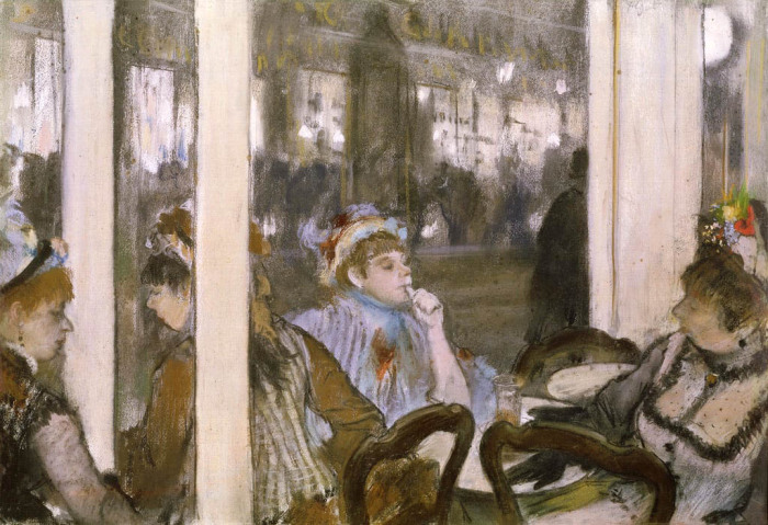Женщины на террасе кафе вечером, пастель поверх монотипии на бумаге, Эдгар Дега, 1877 год. \ Фото: meisterdrucke.it.