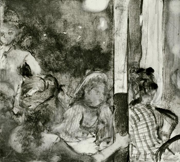 Женщины на террасе кафе вечером, монотипия тёмного поля на тканой бумаге, Эдгар Дега, 1876 год. \ Фото: pinterest.com.