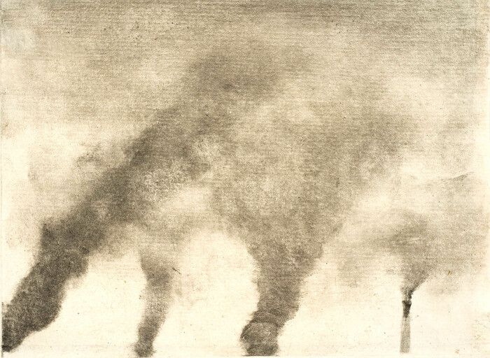 Фабричный дым, монотипия в тёмном поле чёрными чернилами на белой бумаге, Эдгар Дега, 1976-79 гг. \ Фото: hobbydocbox.com.
