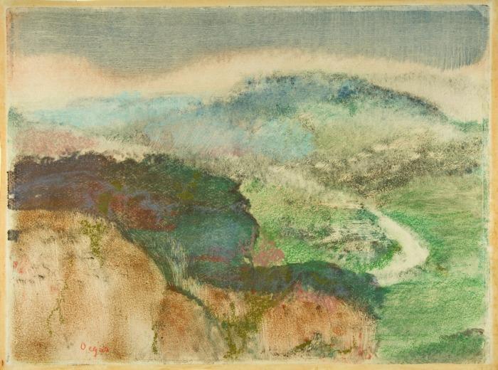 Пейзаж, монотипия в масляных тонах, усиленная пастелью, Эдгар Дега, 1892 год. \ Фото: google.com.