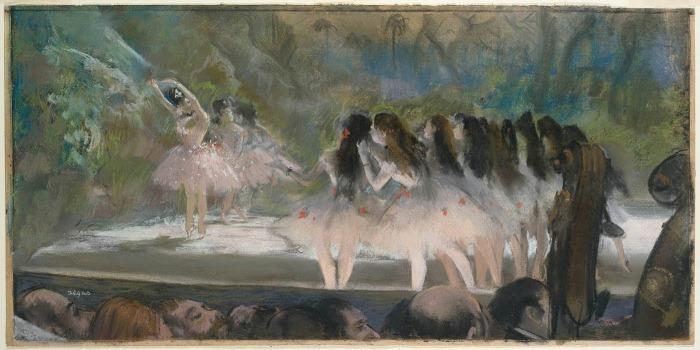 Балет в Парижской опере, пастель поверх монотипии на кремовой бумаге, Эдгар Дега, 1877 год. \ Фото: historyofyesterday.com.