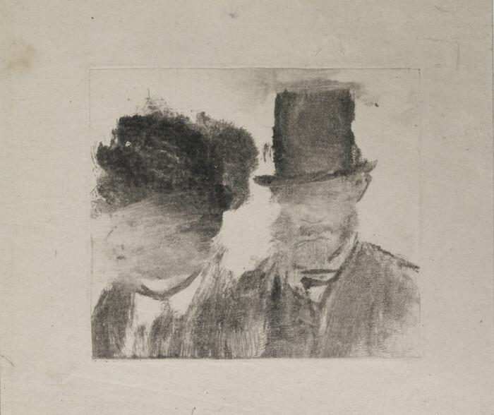 Головы мужчины и женщины, монотипия в тёмном поле, Эдгар Дега, 1877-80 гг. \ Фото: moma.org.