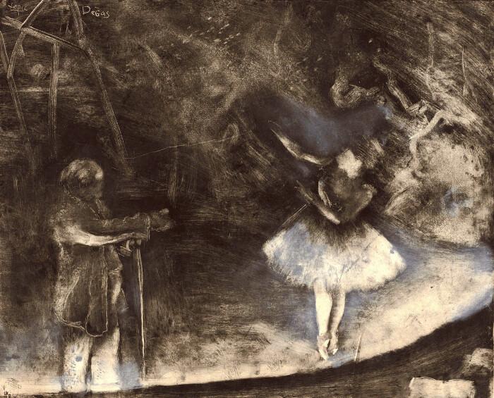 Балетмейстер, монотипия (чёрными чернилами), усиленная и исправленная белым мелом или промытая на бумаге, Эдгар Дега и Виконт Людовик Лепик, 1874 год. \ Фото: wordpress.com.