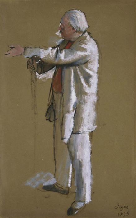 Балетмейстер Жюль Перро, масляная краска на коричневой тканой бумаге, Эдгар Дега, 1875 год. \ Фото: mobile.twitter.com.