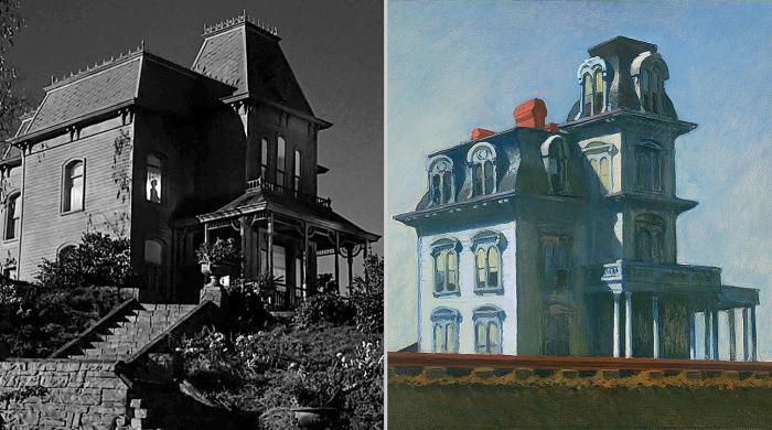 Слева направо:  из Психо Альфреда Хичкока, 1960 год. \ Дом у железной дороги Эдварда Хоппера, 1925 год. \ Фото: csosoundsandstories.org.