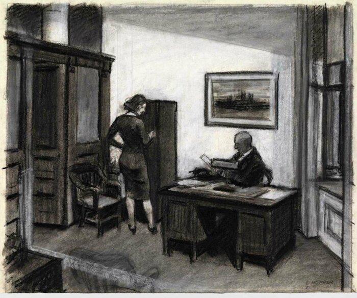 Офис ночью, Эдвард Хоппер, 1940 год. \ Фото: pinterest.jp.