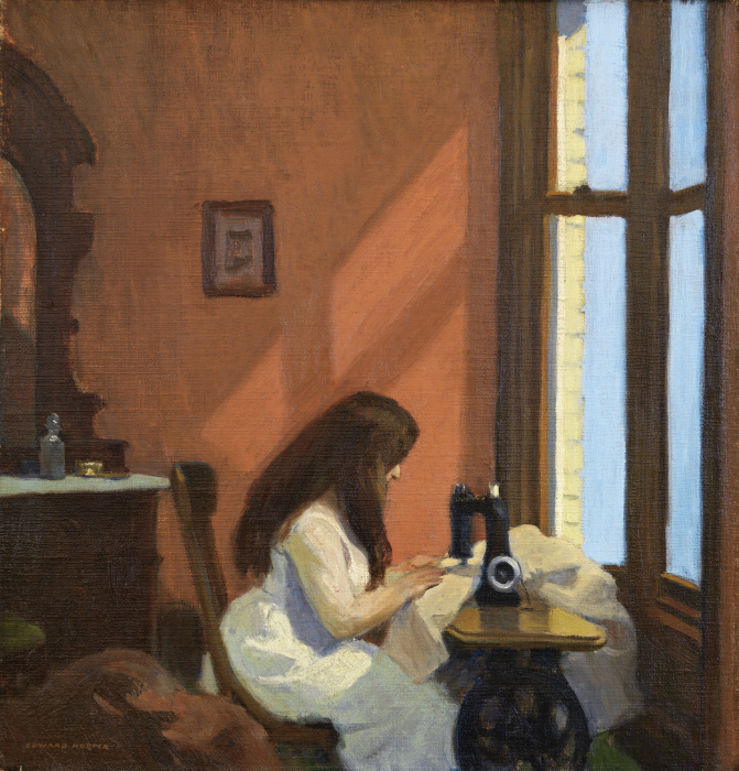 Девушка за швейной машинкой, Эдвард Хоппер, 1921 год. \ Фото: enlenguapropia.wordpress.com.