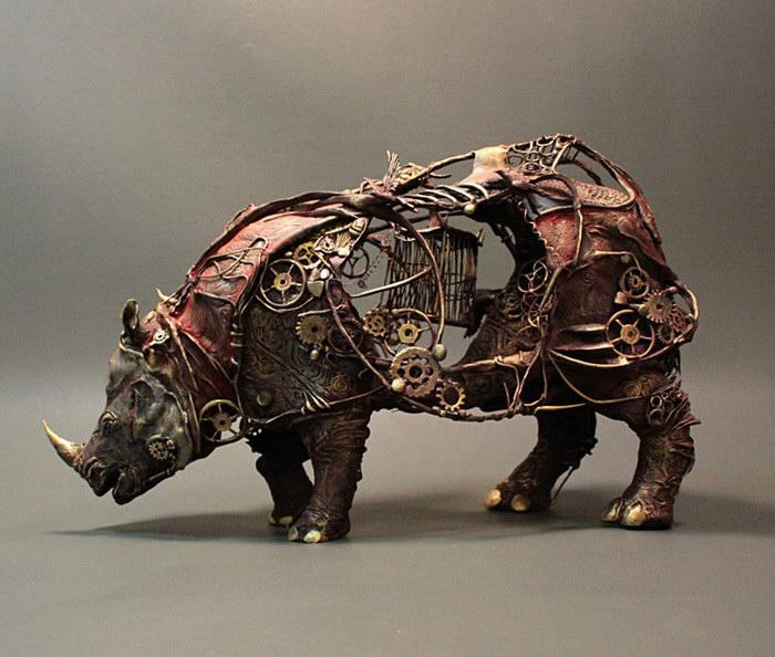 Носорог. Автор скульптуры: Эллен Джеветт (Ellen Jewett).