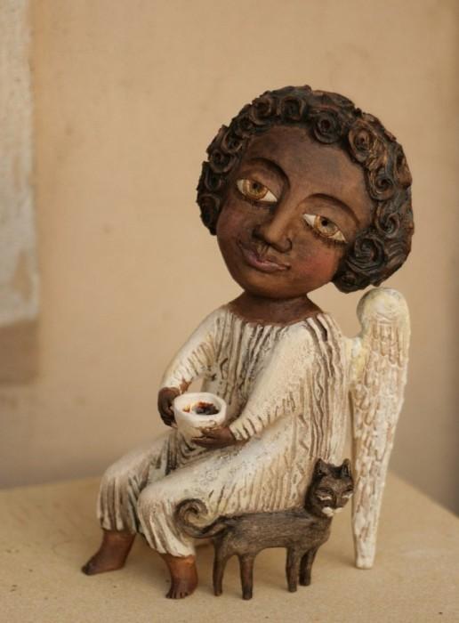 Ангел с кошкой. Автор: Эля Ялонецкая.