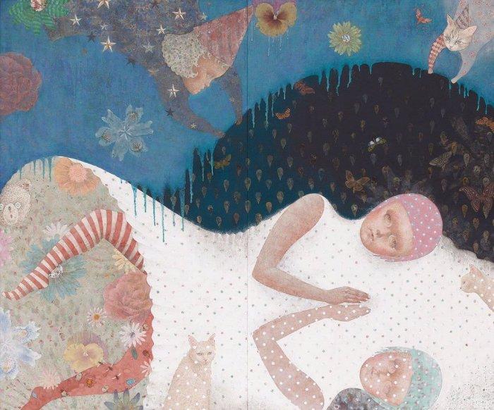 Европейский фольклор в старинном японском стиле: Художница рисует странные картины с нотками гениального безумия