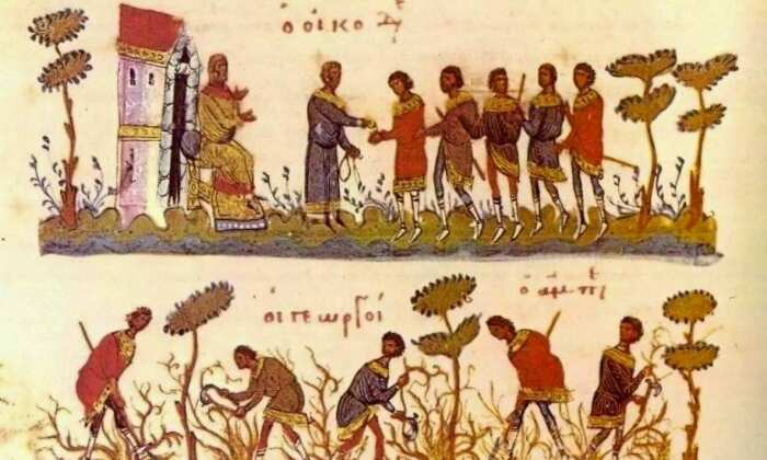Византийские сельскохозяйственные рабочие получают зарплату (вверху), византийские фермеры обрабатывают землю (внизу). \ Фото: newsbomb.gr.