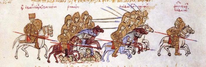 Василий II (крайний слева) на поле боя против грузин. \ Фото: pinterest.ru.