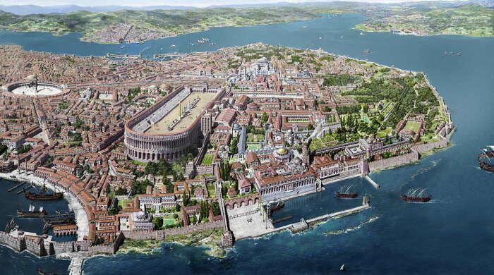 Реконструкция средневекового Константинополя. \ Фото: ozhanozturk.com.