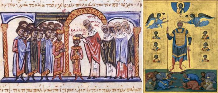 Слева направо: Коронация младенца Василия II в качестве соправителя. \ Придворные и побеждённые враги склоняются к ногам императора Василия II. \ Фото: google.com.