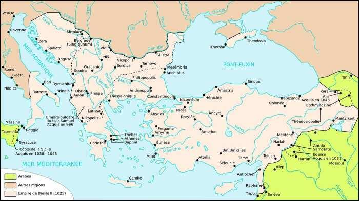 Византийская империя в 1025 году в конце правления Василия. \ Фото: palabrasonit.com.