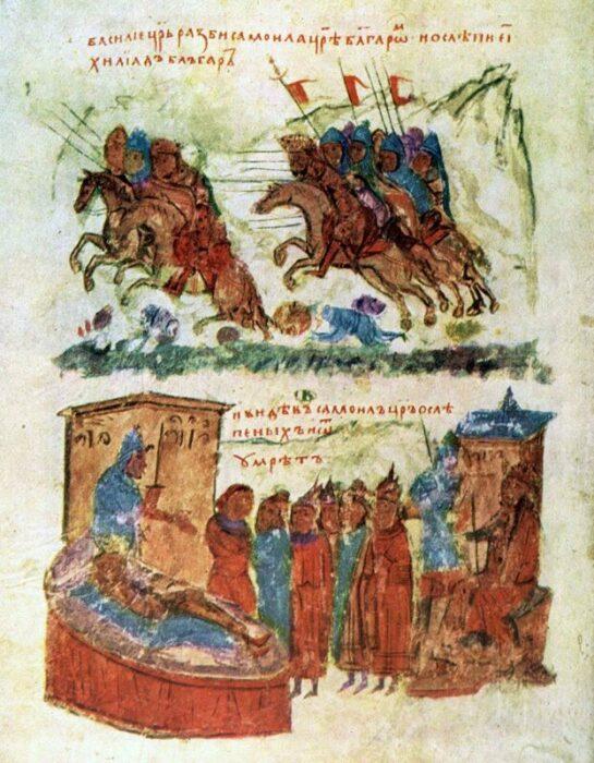 Битва при Клейдионе (вверху) и смерть царя Самуила (внизу). \ Фото: google.com.